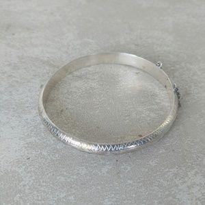 Sterling Silver 925 Bangle Bracelet Safe Chain